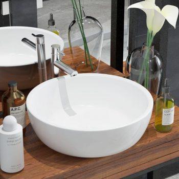 Umivalnik Okrogel Keramičen Bele Barve 42x12 cm