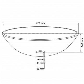 Umivalnik iz Kaljenega Stekla 42 cm Črne Barve