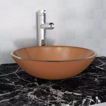 Umivalnik iz Kaljenega Stekla 42 cm Rjave Barve