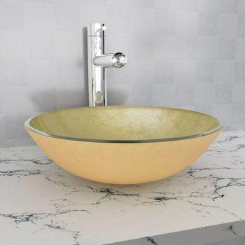 Umivalnik iz Kaljenega Stekla 42 cm Zlate Barve