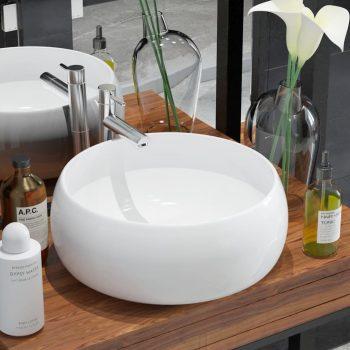 Umivalnik iz keramike okrogel bel 40x15 cm