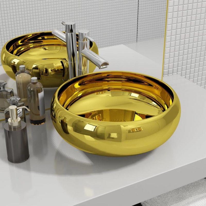 Umivalnik keramičen 40x15 cm zlat