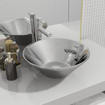 Umivalnik keramičen 42x14 cm srebrn
