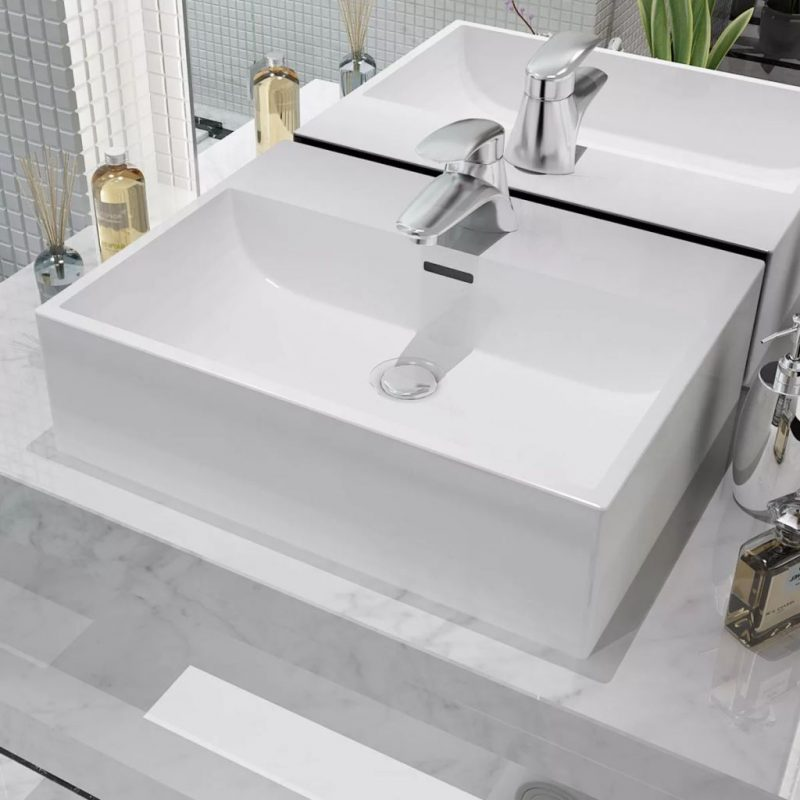 Umivalnik z Odprtino za Pipo Bela Keramika 51