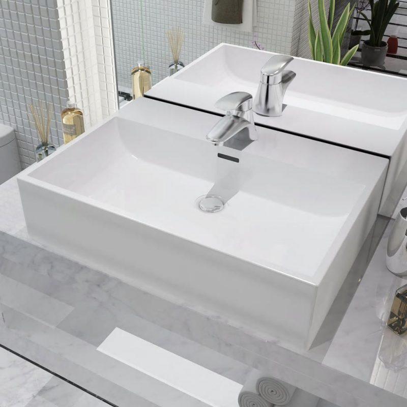 Umivalnik z Odprtino za Pipo Bela Keramika 60
