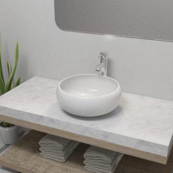 Umivalnik z enoročno armaturo keramika okrogli bele barve