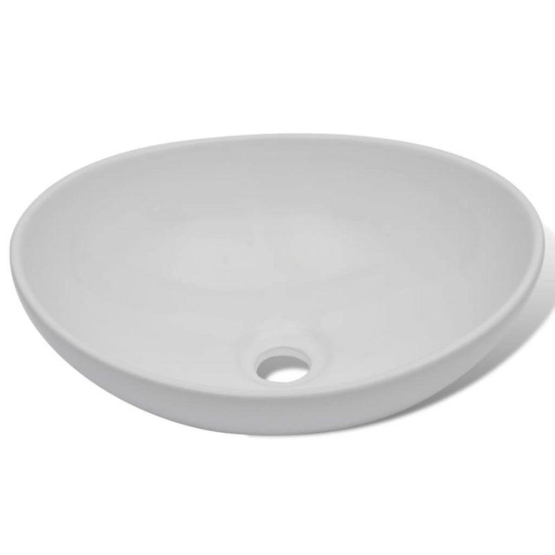Umivalnik z enoročno armaturo keramika ovalni bele barve