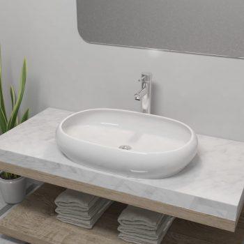 Umivalnik z izmenično pipo keramika ovalna bele barve