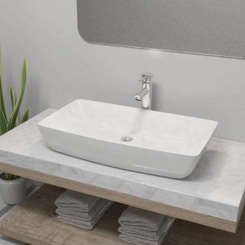Umivalnik z izmenično pipo keramika pravokotna bele barve