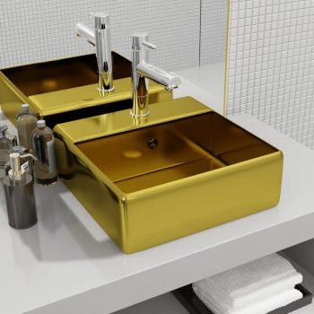 Umivalnik z odprtino za odtekanje 41x41x15 cm keramičen zlat