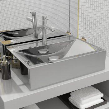 Umivalnik z odprtino za odtekanje 60x46x16 cm keramičen srebrn