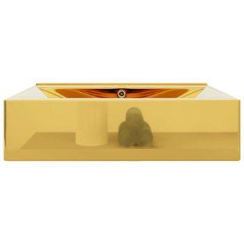 Umivalnik z odprtino za odtekanje 60x46x16 cm keramičen zlat