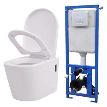 Viseča WC Školjka z Vgradnim Kotličkom Keramična Bela
