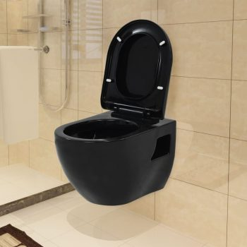 Viseča WC školjka keramična črna
