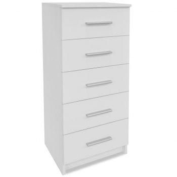 Visok predalnik iverna plošča 41x35x108 cm bele barve