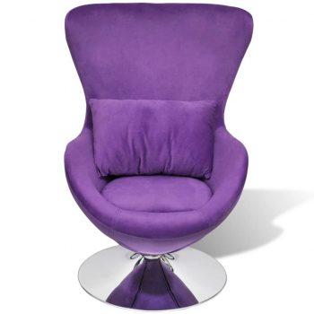 Vrtljiv jajčast stol z blazino S vijoličen žamet