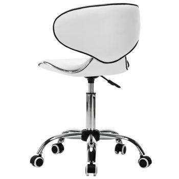 Vrtljiv salonski spa stolček umetno usnje bele barve