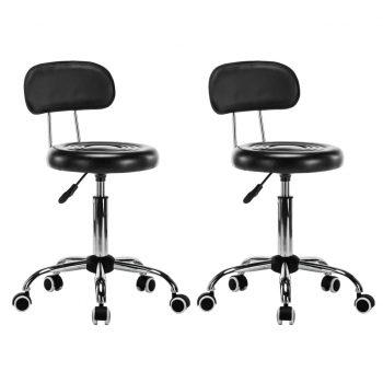 Vrtljivi salonski spa stolčki 2 kosa umetno usnje črne barve