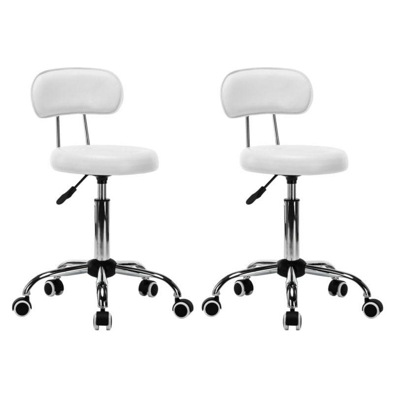 Vrtljivi salonski spa stolčki 2 kosa umetno usnje bele barve