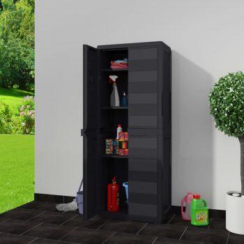 Vrtna omarica za shranjevanje s 3 policami črna