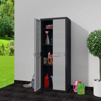 Vrtna omarica za shranjevanje s 3 policami črna in siva