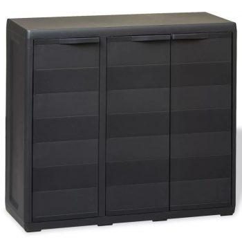 Vrtna omarica za shranjevanje z 2 policama črna