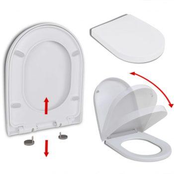 WC deska s počasnim zapiranjem hitra namestitev bela kvadratna