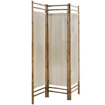 Zložljiv 3-delni panel za razdelitev bambus in platno 120 cm