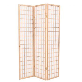 Zložljiv 3-delni paravan japonski stil 120x170 cm naravne barve