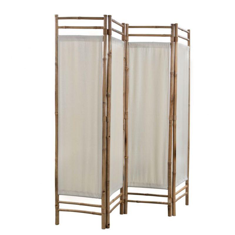 Zložljiv 4-delni panel za razdelitev bambus in platno 160 cm