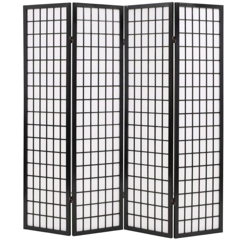 Zložljiv 4-delni paravan japonski stil 160x170 cm črne barve