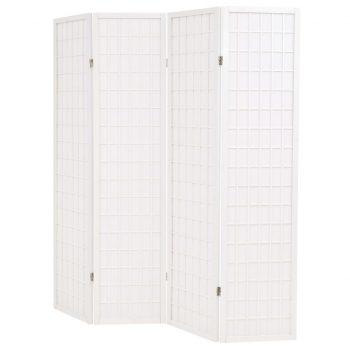 Zložljiv 4-delni paravan japonski stil 160x170 cm bele barve