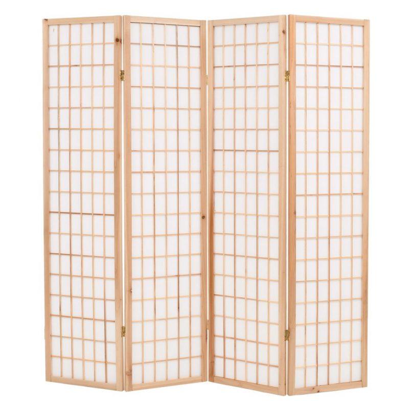 Zložljiv 4-delni paravan japonski stil 160x170 cm naravne barve