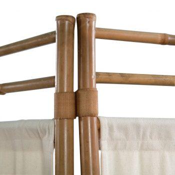 Zložljiv 5-delni panel za razdelitev bambus in platno 200 cm