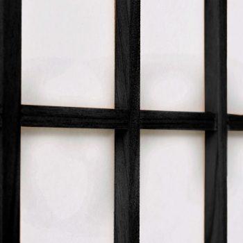 Zložljiv 5-delni paravan japonski stil 200x170 cm črne barve