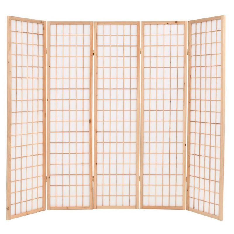 Zložljiv 5-delni paravan japonski stil 200x170 cm naravne barve