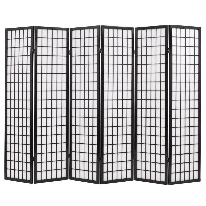 Zložljiv 6-delni paravan japonski stil 240x170 cm črne barve