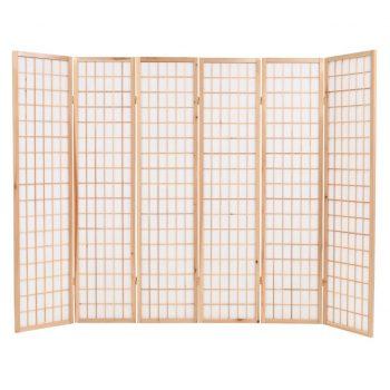 Zložljiv 6-delni paravan japonski stil 240x170 cm naravne barve