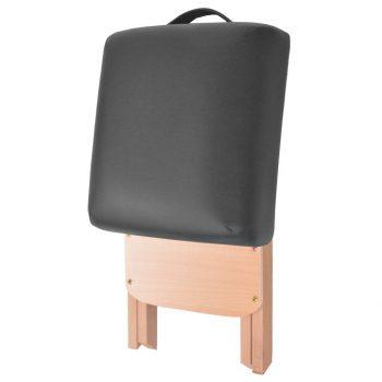 Zložljiv masažni stolček z 12 cm debelim sedežem črn