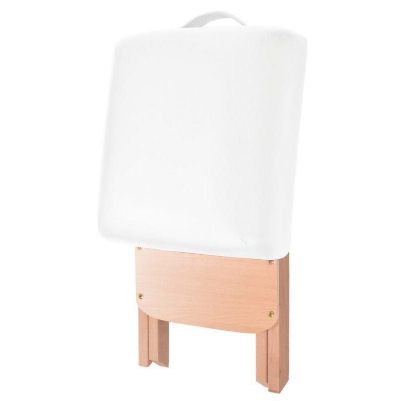 Zložljiv masažni stolček z 12 cm debelim sedežem bel