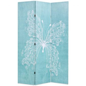 Zložljiv paravan 120x170 cm metulj moder