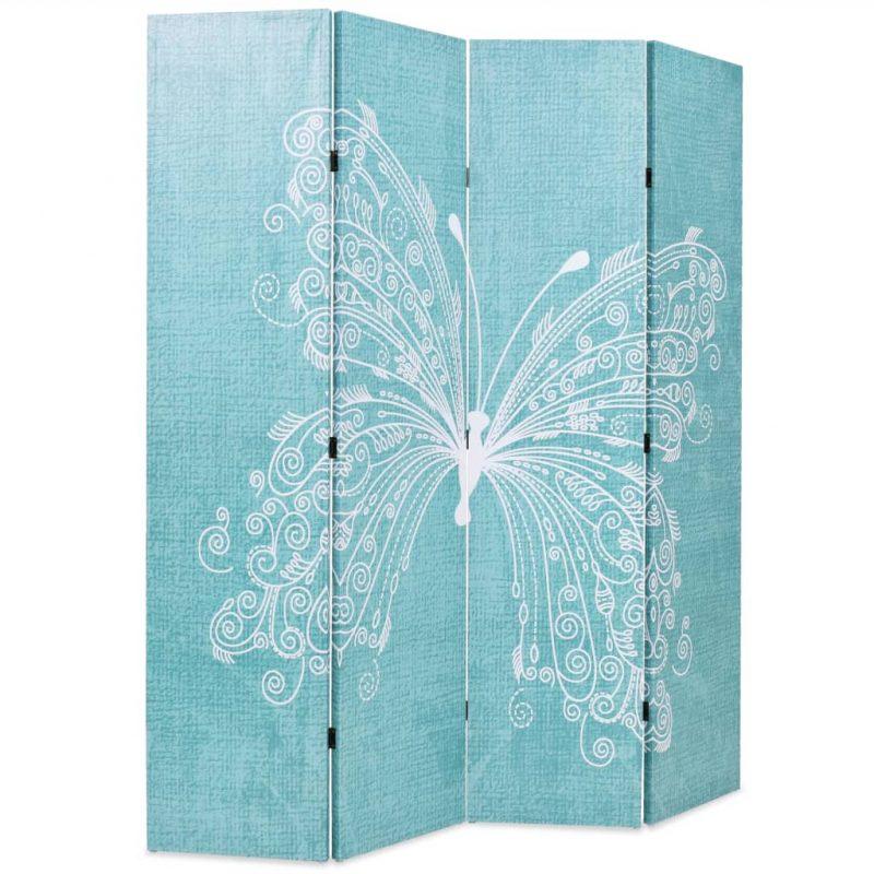 Zložljiv paravan 160x170 cm metulj moder