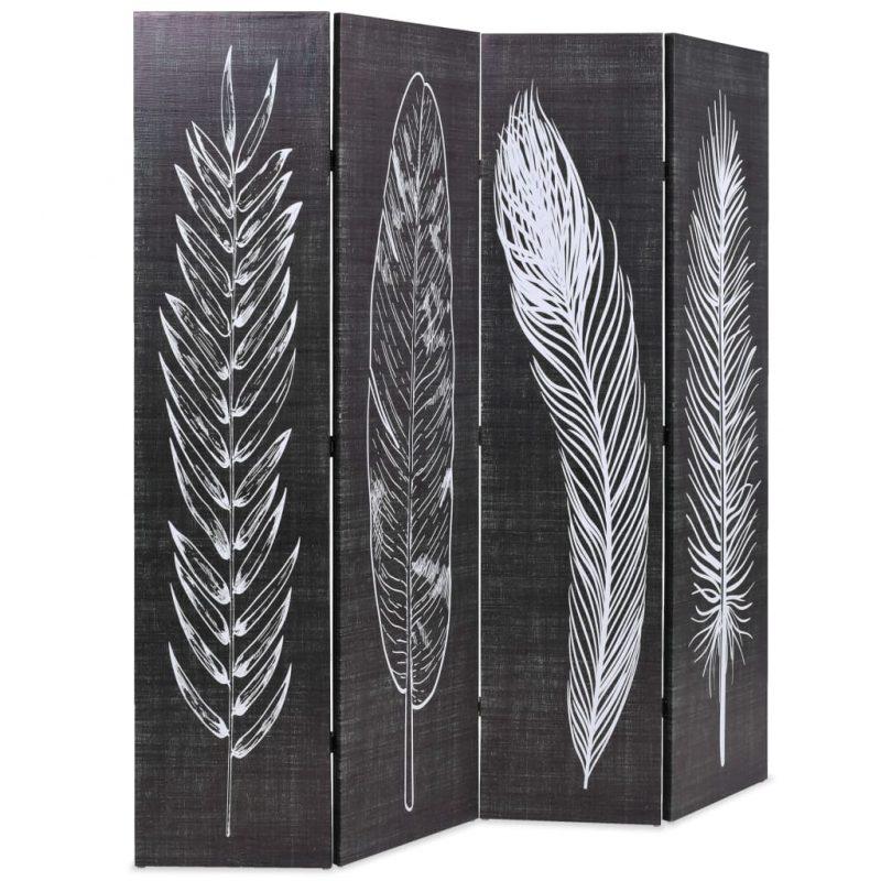 Zložljiv paravan 160x170 cm perje črn in bel