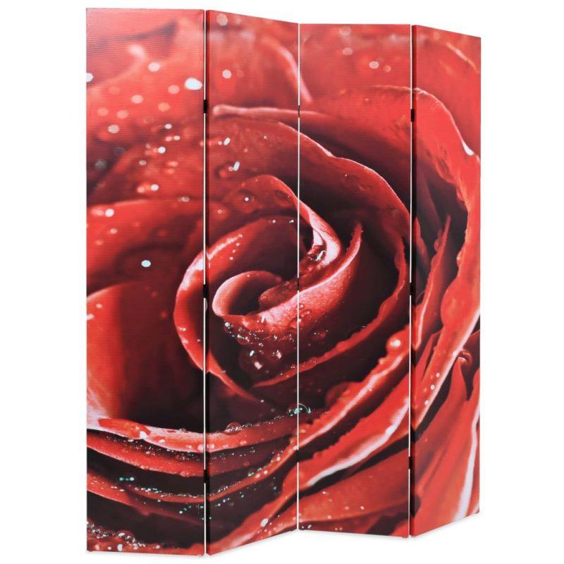 Zložljiv paravan 160x170 cm vrtnica rdeč