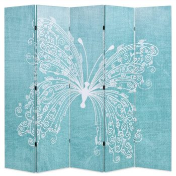 Zložljiv paravan 200x170 cm metulj moder