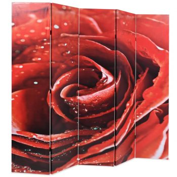 Zložljiv paravan 200x170 cm vrtnica rdeč
