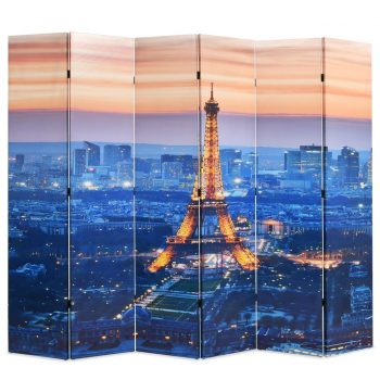 Zložljiv paravan 228x170 cm Pariz ponoči