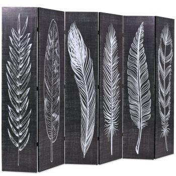 Zložljiv paravan 228x170 cm perje črn in bel