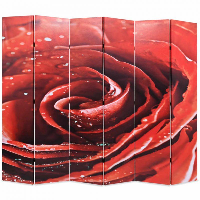 Zložljiv paravan 228x170 cm vrtnica rdeč