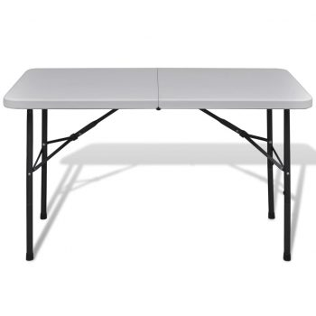 Zložljiva vrtna miza 122 cm HDPE bele barve